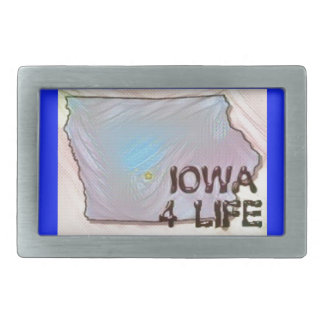 """Iowa 4 Life"" State Map Pride Design Belt Buckles"