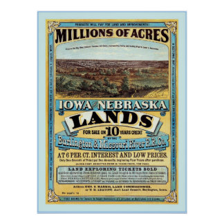 Iowa and Nebraska ~ Vintage Land Sale Advertising. Poster