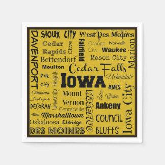 Iowa cities typography napkins disposable serviettes