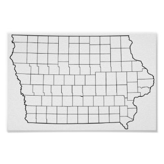 Iowa Counties Blank Outline Map Poster
