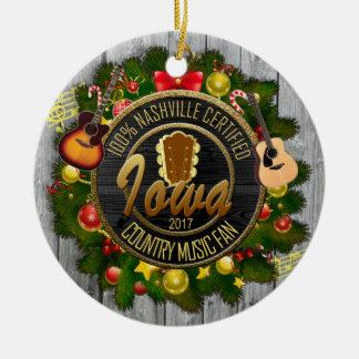 Iowa Country Music Fan Christmas Ornament