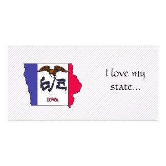 Iowa Flag Map Personalized Photo Card