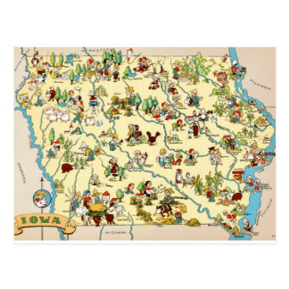Iowa Funny Vintage Map Postcards