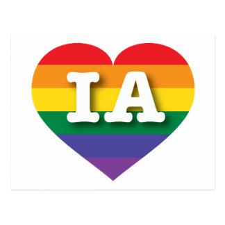 Iowa Gay Pride Rainbow Heart - Big Love Postcard