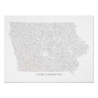 Iowa Gravel Roads Map Poster