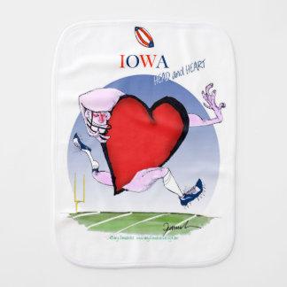 iowa head heart, tony fernandes burp cloth