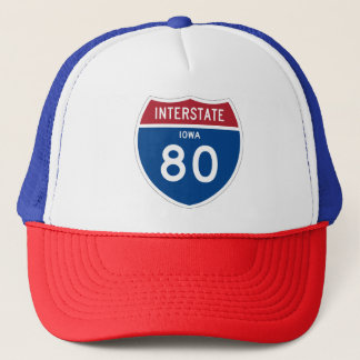 Iowa IA I-80 Interstate Highway Shield - Trucker Hat