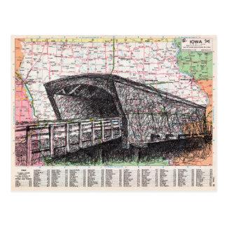 Iowa Map Art Postcard