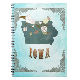 Iowa Map With Lovely Birds Notebooks