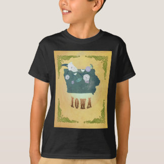 Iowa Map With Lovely Birds T-Shirt