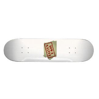 Iowa Native Stamped on Map Skateboard Decks