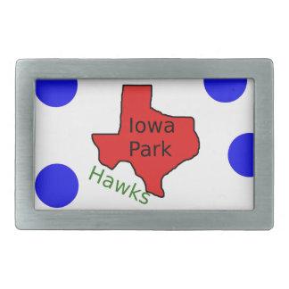 Iowa Park, Texas Design (Hawks Text Included) Rectangular Belt Buckle