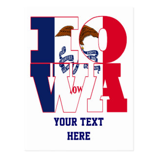 Iowa state flag text postcard