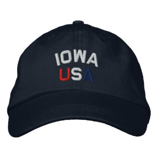 Iowa USA Embroidered Navy Blue Hat