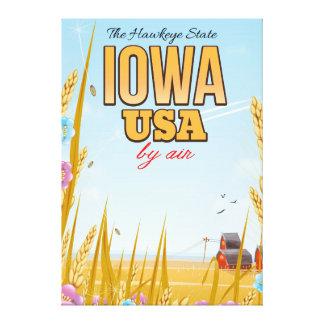 "Iowa USA ""The Hawkeye State""Cartoon travel poster. Canvas Print"