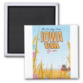 "Iowa USA ""The Hawkeye State""Cartoon travel poster. Magnet"