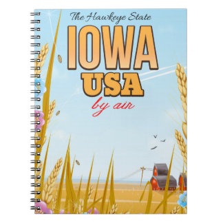 "Iowa USA ""The Hawkeye State""Cartoon travel poster. Notebook"