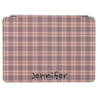 iPad Air Cover Pink and Gray Plaid, Personalized