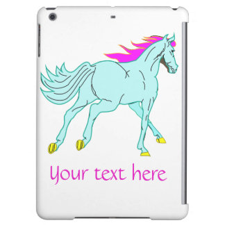 iPad Case Colorful Horse and Customizable Text
