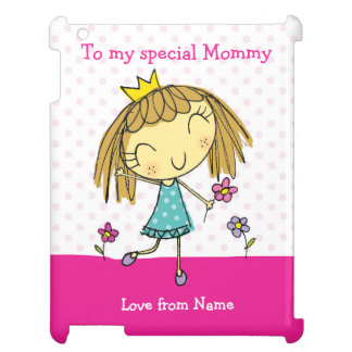 iPAD CASE - MOMMY cute princess with flowers pink