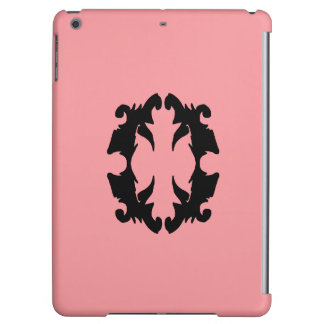 iPad Case Salmon Pink Black Fashion Flourish
