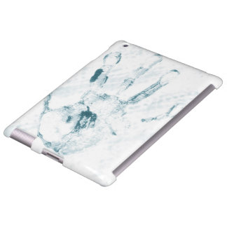 """iPad covering """"stop"""" hand blue"""