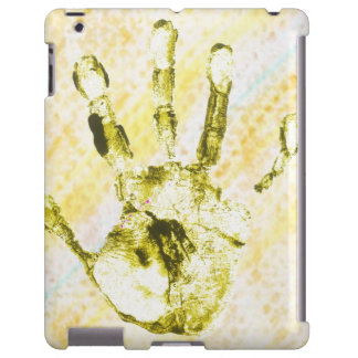 """iPad covering """"stop"""" hand yellow"""