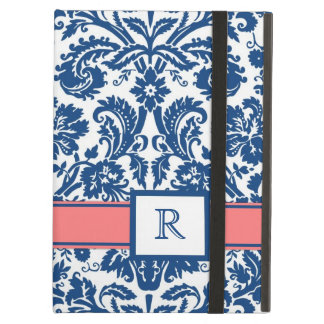 iPad Custom Monogram Blue Coral Floral Damask iPad Air Cover