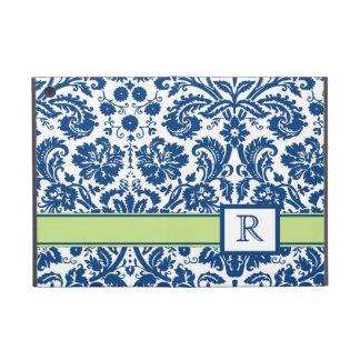 iPad Custom Monogram Blue Lime Floral Damask iPad Mini Cases