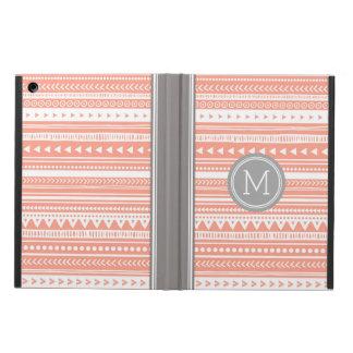 iPad Custom Monogram Grey Coral Tribal Case For iPad Air