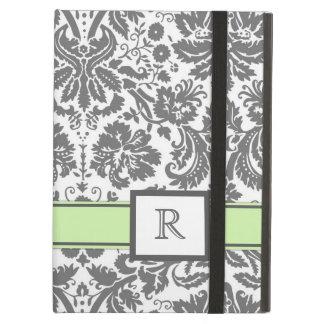 iPad Custom Monogram Grey Mint Floral Damask iPad Air Cases