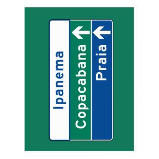 Ipanema/Copacabana/Beach, Brazil Traffic Sign Postcard