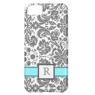 iPhone5 Custom Monogram Grey Aqua Floral Damask iPhone 5C Case