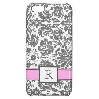 iPhone5 Custom Monogram Grey Pink Floral Damask Case For iPhone 5C