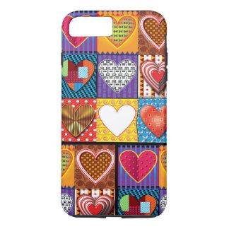 iPhone8 Plus/ case. colourful multi hearts design. iPhone 8 Plus/7 Plus Case