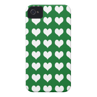 iPhone 4/4s Custom Case-Mate Green with Hearts iPhone 4 Covers
