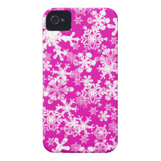 iPhone 4/4s Custom Case-Mate Pink with Snowflakes iPhone 4 Cover