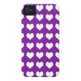 iPhone 4/4s Custom Case-Mate Purple with Hearts iPhone 4 Covers