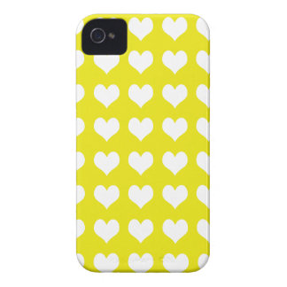 iPhone 4/4s Custom Case-Mate Yellow with Hearts iPhone 4 Cases