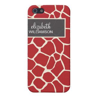 iPhone 4 Case Cranberry Giraffe Pattern