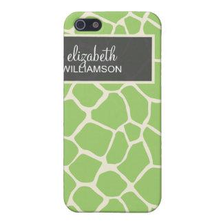 iPhone 4 Case Green Giraffe Pattern