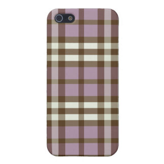 iPhone 4 Case Lilac/Chocolate Brown Plaid Pattern