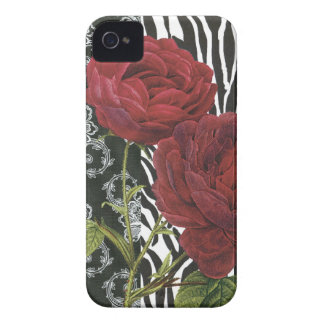 iphone 4 case.. .Vintage Red Rose, zebra and lace iPhone 4 Cover
