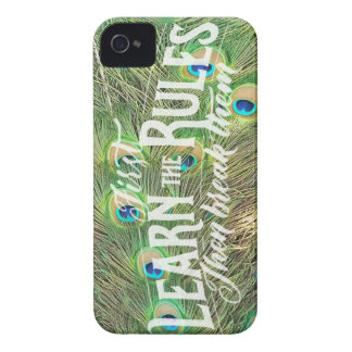 iPhone 4 case with photo of peacock tail & saying
