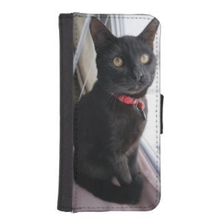 Iphone 5/5s Wallet Case with Black Cat