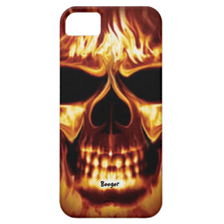 Iphone 5 barely there - Skull Face on Fire iPhone 5 Cases