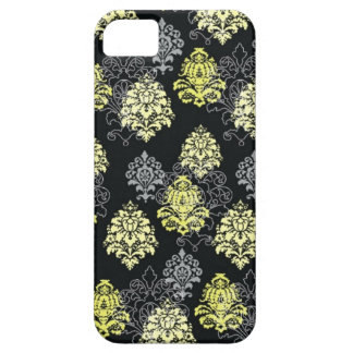 iPhone 5 case-Citron and Black Damask iPhone 5 Case
