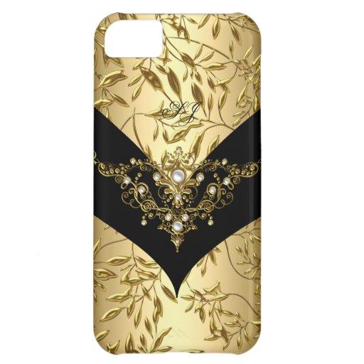 iPhone 5 Case-Mate Cream Gold Damask Black