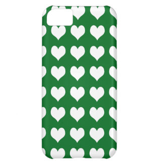iPhone 5 Custom Case-Mate Green with Hearts iPhone 5C Case