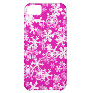 iPhone 5 Custom Case-Mate Pink with Snowflakes iPhone 5C Case